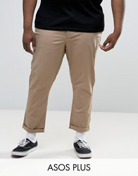 Asos Plus Tapered Chinos In Stone Stone