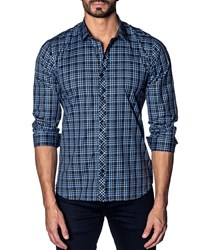 Jared Lang Modern Fit Check Sport Shirt Navy Blue Multi