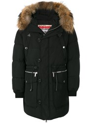 Dsquared2 Fur Trimmed Parka Feather Down Polyamide Polyester Duck Feathers Black