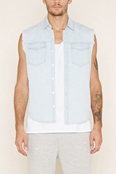 Forever 21 Raw Cut Chambray Shirt Light Denim