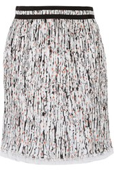 Carven Printed Plisse Georgette Skirt Multi