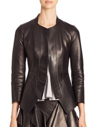Alexander Mcqueen Leather Peplum Jacket Black