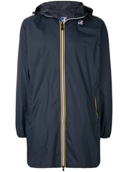 K Way Contrast Zip Parka Blue