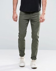 Asos Skinny Jeans In Dark Khaki Forest Night Green