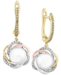 Effy Collection Effy Cultured Freshwater Pearl 7Mm And Diamond 1 4 Ct. T.W. Tri Tone Drop Earrings In 14K Yellow Rose And White Gold