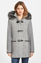 Women's Kensie Boucle Front Duffle Coat With Faux Fur