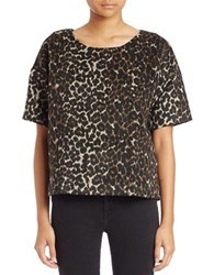 Lord And Taylor Animal Print Boxy Tee Black