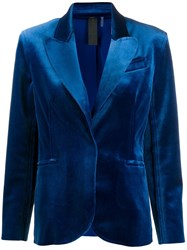 Norma Kamali Classic Fitted Blazer Blue