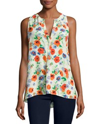 Joie Aruna Floral Print Sleeveless Silk Blouse White Pattern