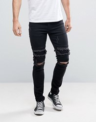 Sixth June Skinny Jeans With Distressing Black