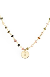 Nashelle 14K Gold Fill Mini Initial Disc Tourmaline Chain Necklace Gold Fill Tourmaline B