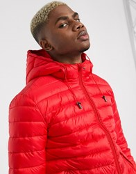 Celio Quilted Jacket With Hood In Red