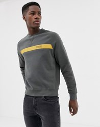 Barbour International Keswick Panel Logo Crew Neck Sweat In Green