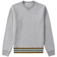 Valentino Military Taping Welt Crew Sweat Grey