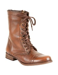 Steve Madden Troopa Leather Lace Up Mid Calf Boots Brown Leather