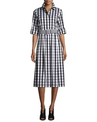 Lafayette 148 New York Eleni Belmont Check Shirting Dress W Belt Black Multi