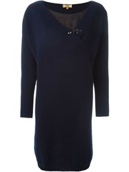 Fay Buckled Detail Sweater Dress Blue