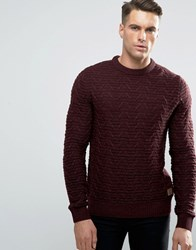 Threadbare Chunky Cable Knit Jumper Red