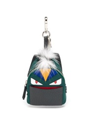 Fendi Mini Fur Backpack Charm Green Multi