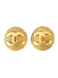 Chanel Vintage Logo Button Clip On Earrings Metallic