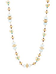 Azaara Turquoise And Crystal Strand Necklace Gold
