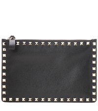 Valentino Rockstud Leather Pouch Black
