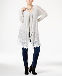 American Rag Trendy Plus Size Lace Trim Cardigan Only At Macy's Egret Combo