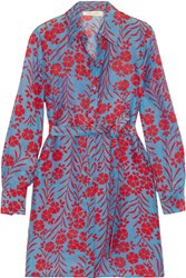 Diane Von Furstenberg Floral Print Cotton And Silk Blend Mini Dress Light Blue