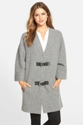 Michael Michael Kors Buckle Front Wool Sweater Coat Gray