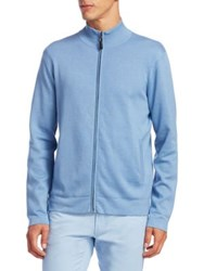 Saks Fifth Avenue Collection Full Zip Sweater Light Blue