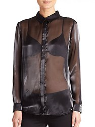 Mason By Michelle Mason Sheer Organza Blouse Black