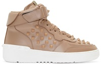 Valentino Beige Studded High Top Sneakers