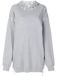 Jonathan Simkhai Oversized Whipstitch Hoodie Cotton Polyester Grey