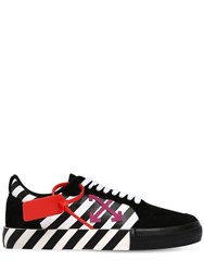 Off White Striped Low Top Suede And Canvas Sneakers Black