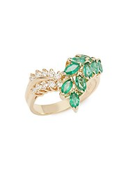 Effy Emerald Diamond And 14K Yellow Gold Ring
