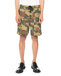 Dries Van Noten Porto Camo Print Shorts Khaki