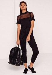 Missguided Loop Back And Mesh Jumpsuit Black