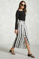 Forever 21 Striped Button Front Maxi Skirt White Black