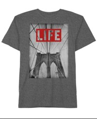 Hybrid Men's Life Brooklyn Graphic Print Cotton T Shirt Charcoal