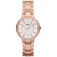 Fossil Es3284 Women's Virginia Stainless Steel Bracelet Strap Watch Rose Gold White