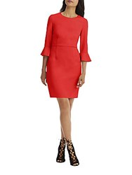 Donna Morgan Three Quarter Sleeve Sheath Dress Red