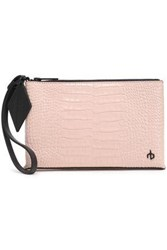 Rag And Bone Croc Effect Leather Pouch Pastel Pink