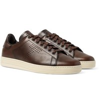 Tom Ford Burnished Leather Sneakers Brown