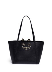 Charlotte Olympia 'Mini Feline Shopper' Saffiano Leather Tote Black