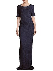 Zac Posen Hand Knitted Silk Sheath Gown Porcelain