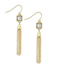 Laundry By Shelli Segal Hollywood And Vine Baguette Tassel Drop Earrings Gold