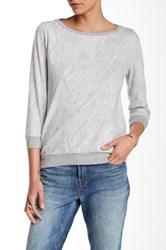 Three Dots 3 4 Length Sleeve Tee Gray