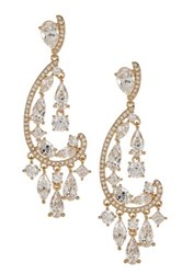 Nadri Cz Paisley Chandelier Earrings Metallic
