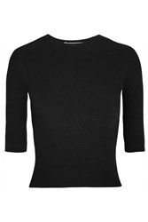 Vince Ribbed Stretch Knit Top Black