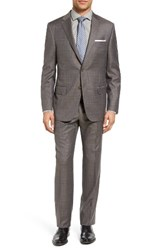 Hickey Freeman Men's Big And Tall Beacon Classic Fit Plaid Wool Suit Dark Beige